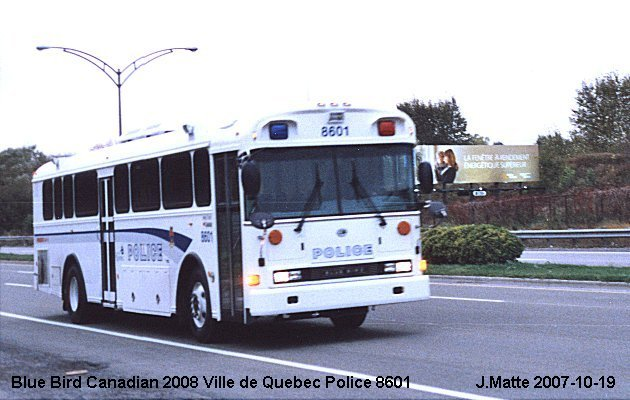 BUS/AUTOBUS: Blue Bird Canadianna 2008 Ville Quebec Police