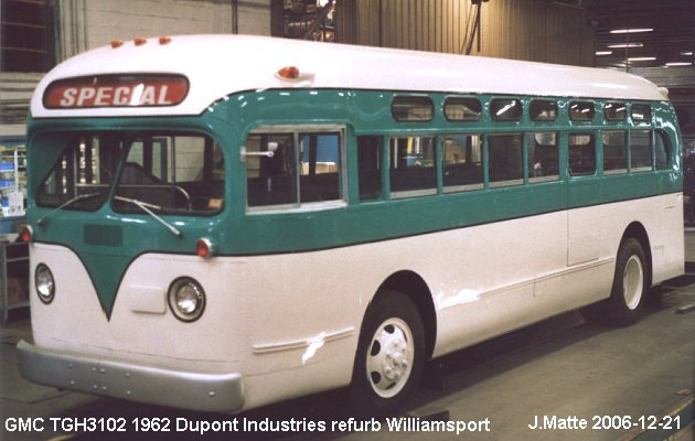 BUS/AUTOBUS: GMC TGH 3102 1962 Williamsport